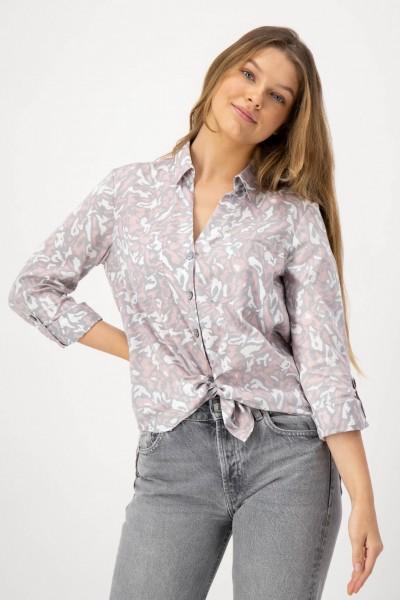 Bluse mit Animal Print in Rosa, Grau aus reiner Baumwolle von JUST WHITE
