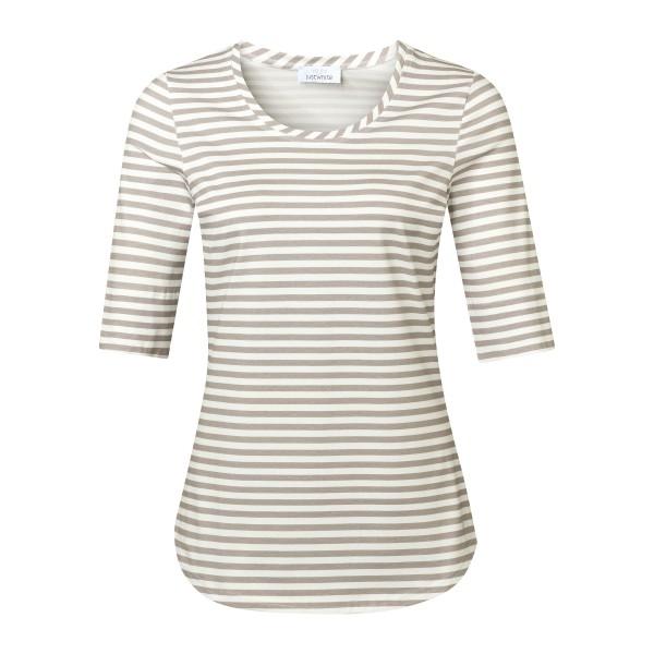 Gestreiftes Damenshirt Kurzarm mit Rundhals in Khaki Weiss von JUST WHITE