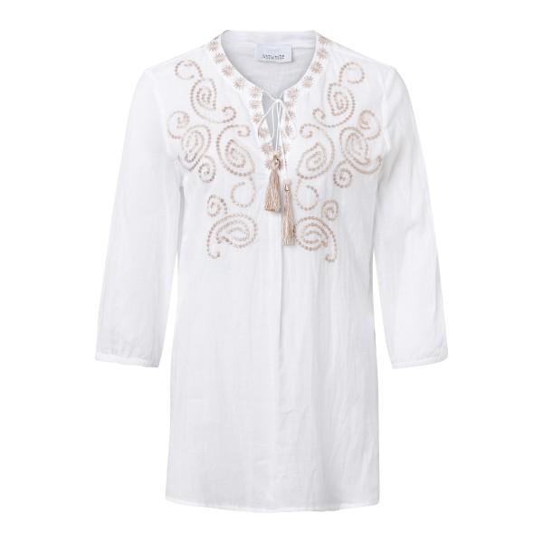 Damen Tunika aus Baumwolle mit besticktem V-Ausschnitt und Crinkle Optik von JUST WHITE