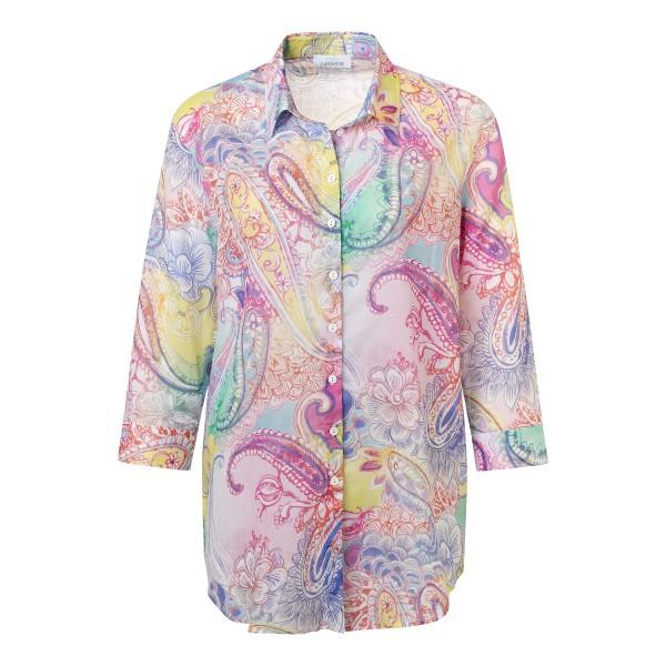 Damen Hemdbluse mit 3/4 Arm und Paisley Muster in Pink, Rosa von JUST WHITE