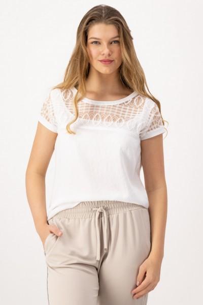 Lockeres Shirt mit Rundhals und transparentem Einsatz von JUST WHITE