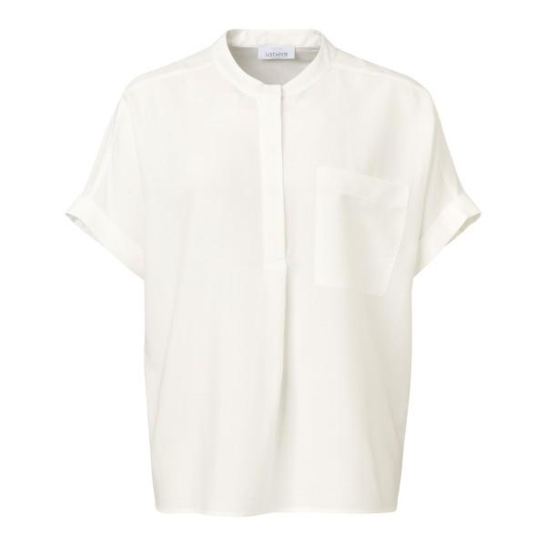 Kurzarm Bluse aus organischen Materialien in Weiß von JUST WHITE