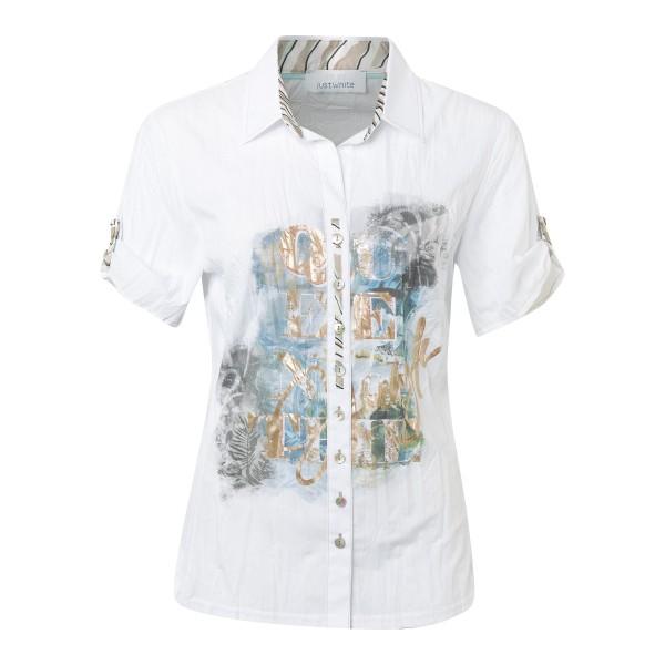 Weiße Crashbluse mit trendigem Dschungelprint in Khaki von JUST WHITE