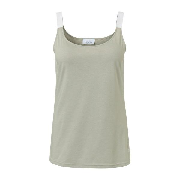 Khaki Damen Tank Top mit glitzernden Trägern von JUST WHITE (Grün)