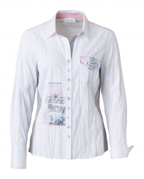 JUST WHITE Weisse Crashbluse mit Print