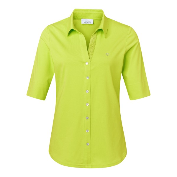 Hellgrüne Shirtbluse mit Knopfleiste von JUST WHITE