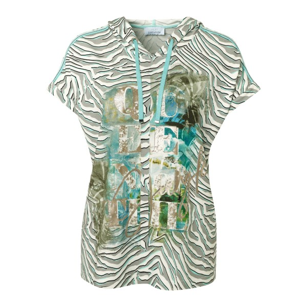 T-Shirt mit Kapuze und Zebra Print von JUST WHITE