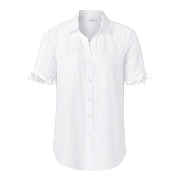 Weiße Bluse mit transparentem Einsatz von JUST WHITE