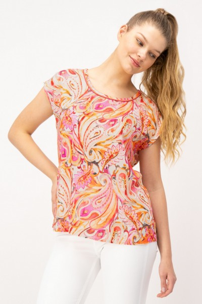 Damen Kurzarm Shirt aus reiner Viskose mit Allover Print Pink Orange von JUST WHITE