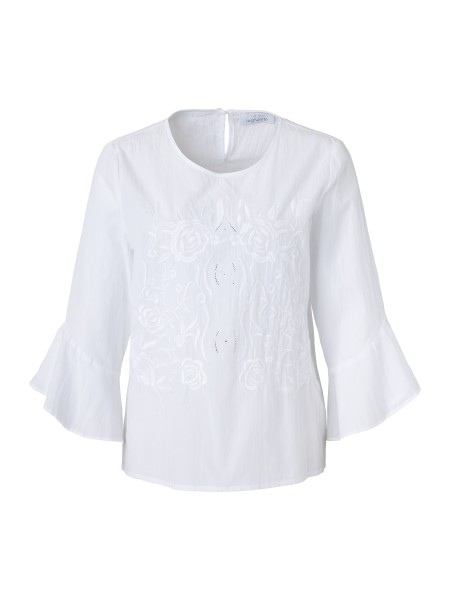 JUST WHITE Crashbluse mit Blumenstickerei
