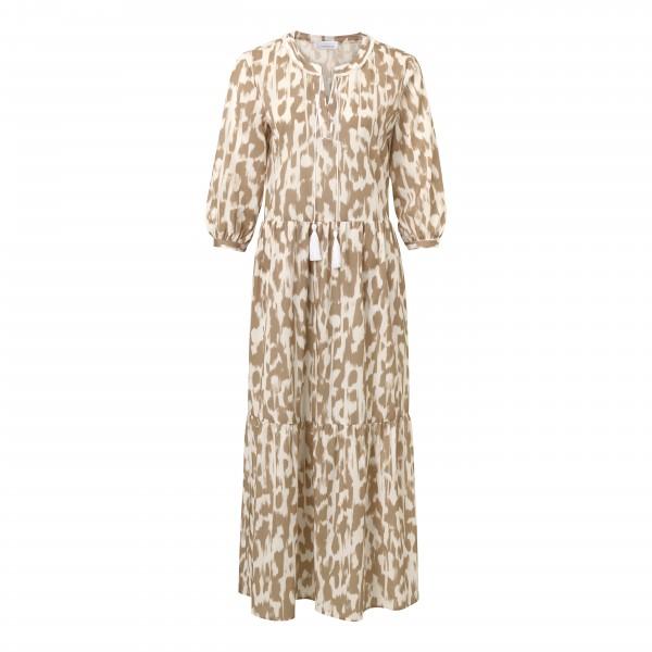 Damen Maxikleid für den Sommer mit Allover Print in Beige, Weiß von JUST WHITE
