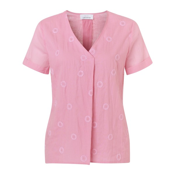 Bestickte Shirtbluse mit Glitzer Steinen von JUST WHITE