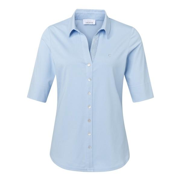 Hellblaue Shirtbluse mit Knopfleiste und Kragen von JUST WHITE
