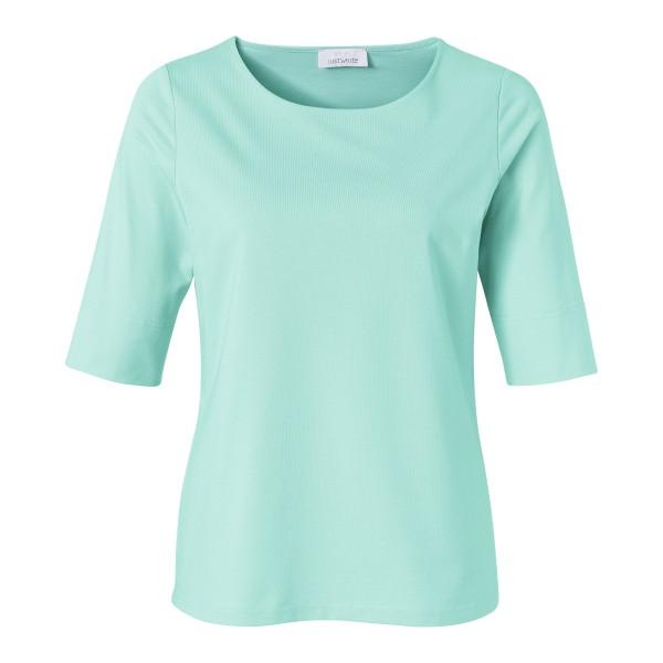 Türkises Basic Shirt für Damen mit Shaping-Effekt und Rundhals von JUST WHITE