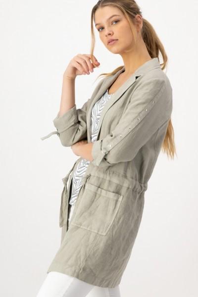 Lange Jacke Damen aus Leinen mit Taschen und Tunnelzug von JUST WHITE