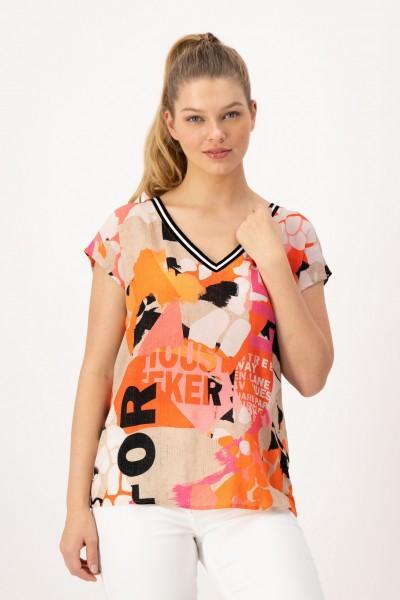 Viskose Shirt mit Alloverprint in Pink, Orange für Damen von JUST WHITE