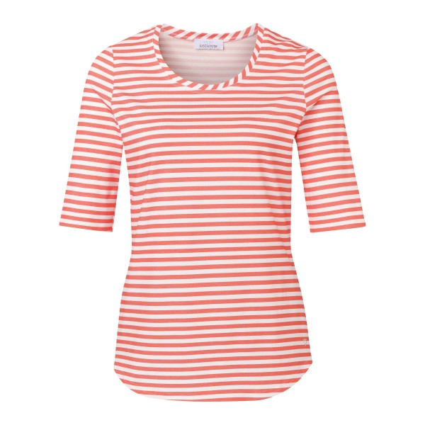 Streifenshirt für Damen mit Rundhals in Weiß und Koralle (Rosa) und JUST WHITE