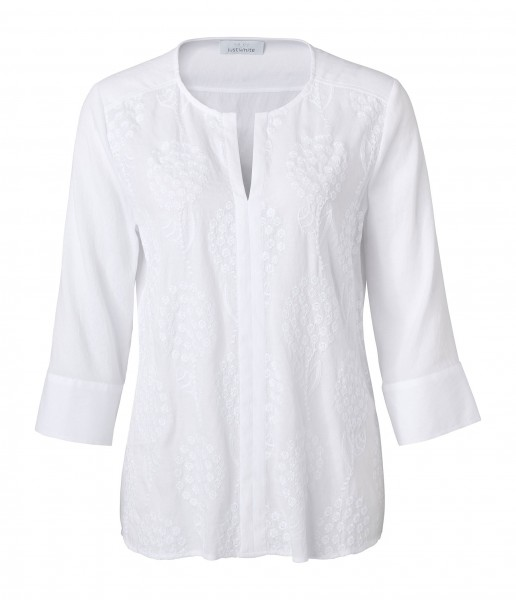 JUST WHITE Bluse mit Stickerei