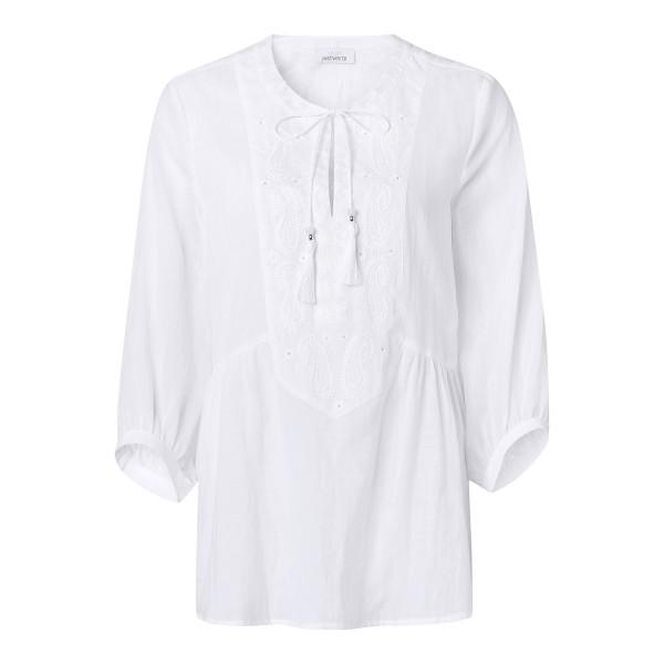 Sommer Tunika in Weiß mit V-Ausschnitt und Stickereien von JUST WHITE