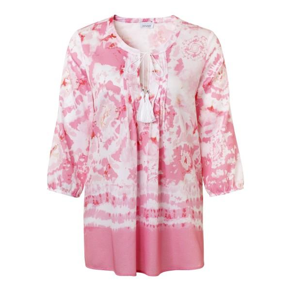 Tunika Bluse mit Batik Print in Rosa und Weiß mit modischem Bändchen am V-Ausschnitt von JUST WHITE