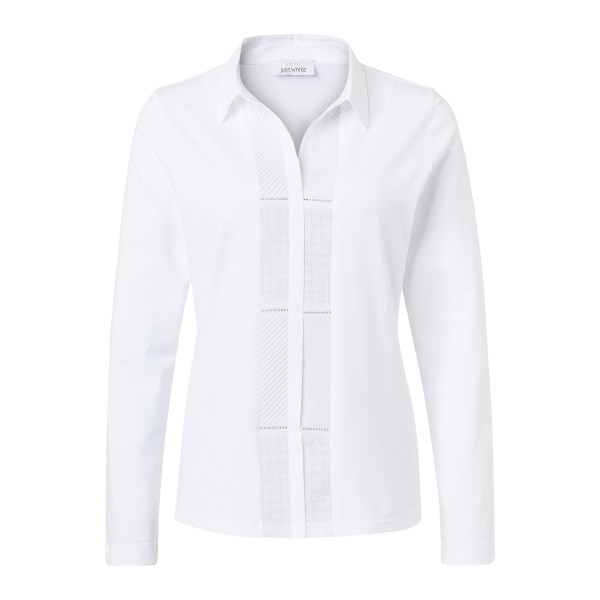 Shirtbluse in Weiß mit Stickerei von JUST WHITE