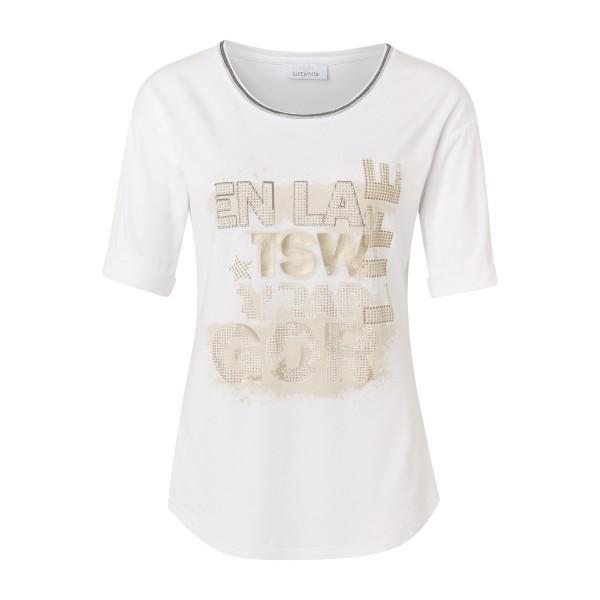 Weißes Halbarm Shirt mit Front Print in Beige und Gold von JUST WHITE