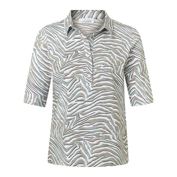 Bequemes Shirt mit Knopfleiste und Print in Khaki Türkis von JUST WHITE