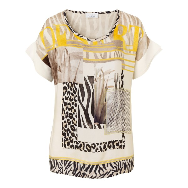 Sportives T-Shirt mit wildem Allover Print in Beige von JUST WHITE