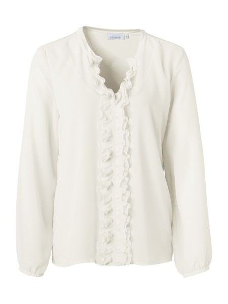 JUST WHITE Shirtbluse mit Rüschen in Offwhite