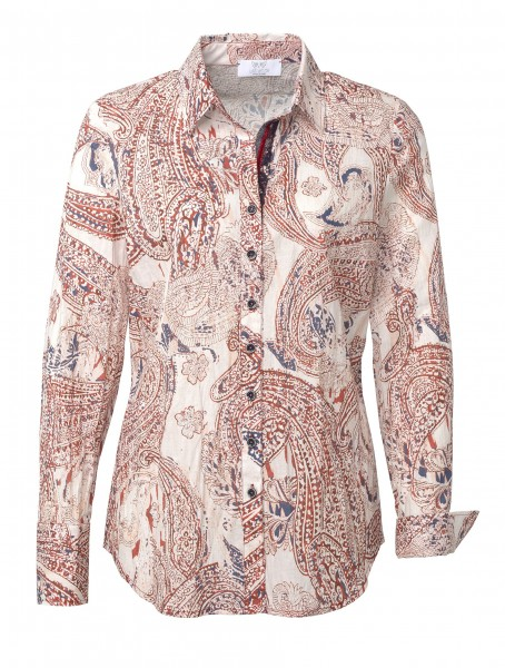 JUST WHITE Langarm-Bluse mit Paisley-Muster