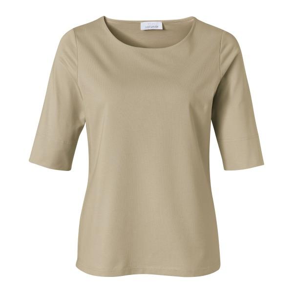 Khaki Basic Shirt für Damen mit Shaping-Effekt und Rundhals von JUST WHITE