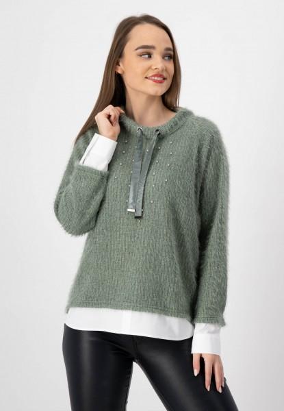 Pullover mit Bluseneinsatz in Salbeigrün