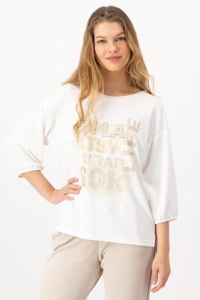Weißes 3/4 Arm Shirt mit glitzerndem Front Print von JUST WHITE