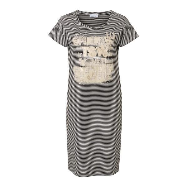 Midi T-Shirt Kleid mit Streifen und Taschen