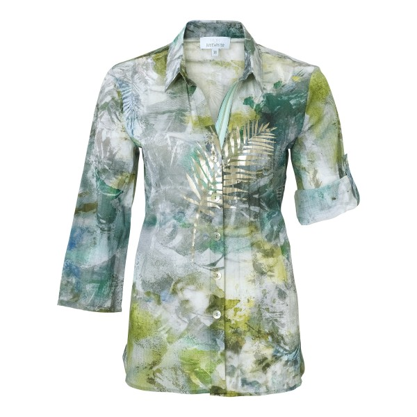 Lockere Bluse mit V-Ausschnitt und Hemdkragen von JUST WHITE