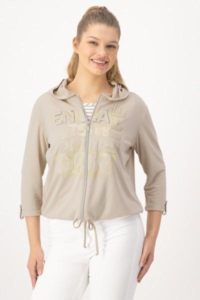 Lockere Kapuzenjacke 3/4 Arm mit Tunnelzug in Beige von JUST WHITE