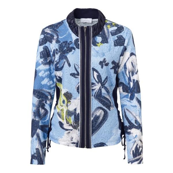 Stehkragen Jacke mit floralem Print in Blau, Weiß und Grün von JUST WHITE