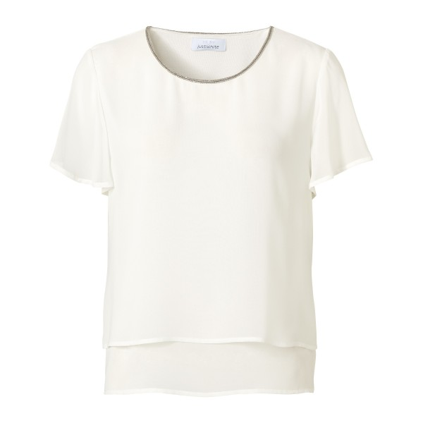 Elegante Chiffonbluse mit glitzernder Kontrastnaht in Off-White von JUST WHITE