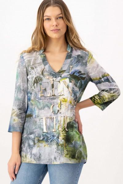 Print-Tunika aus Baumwolle in Khaki von JUST WHITE