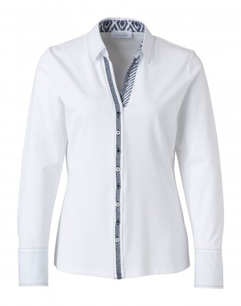 JUST WHITE Blusen-Shirt mit Ikat-Details