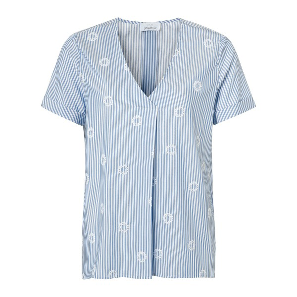 Luftig leichte Kurzarm Bluse mit Stickerei und Streifen von JUST WHITE