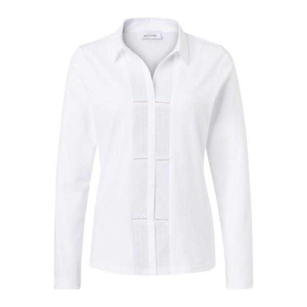 Damen Shirtbluse in Weiß mit Stickereien von JUST WHITE