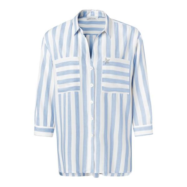 Gestreifte Damen Bluse mit Brusttaschen aus Viskose Leinen von JUST WHITE