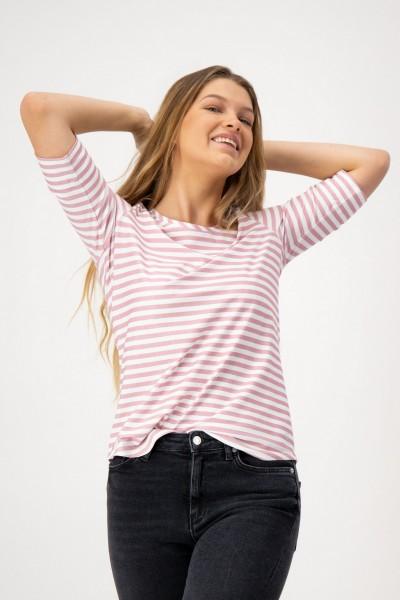 Gestreiftes Kurzarm Damenshirt mit Rundhals in Rosa Weiß von JUST WHITE