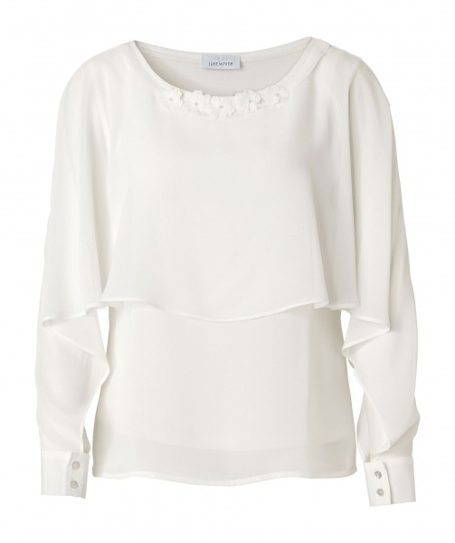 JUST WHITE Extravagante Two-in-One Bluse