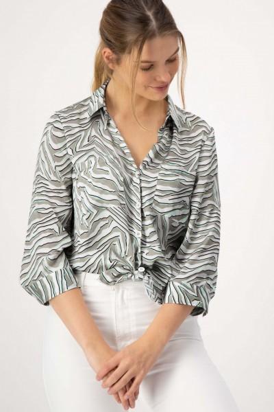 Weite Bluse im Animal Design Zebra von JUST WHITE