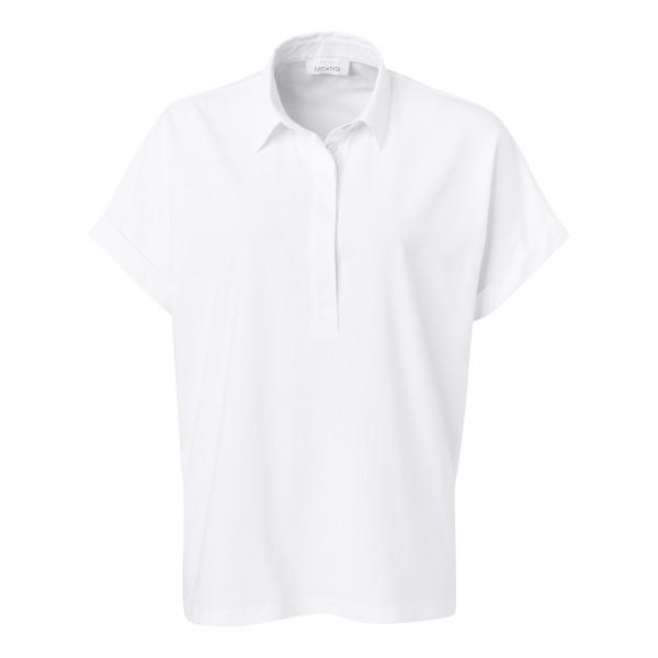 Blusenshirt im Materialmix mit Hemdkragen in Weiß