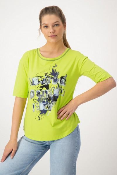 Giftgrünes Shirt mit Print in Blau von JUST WHITE