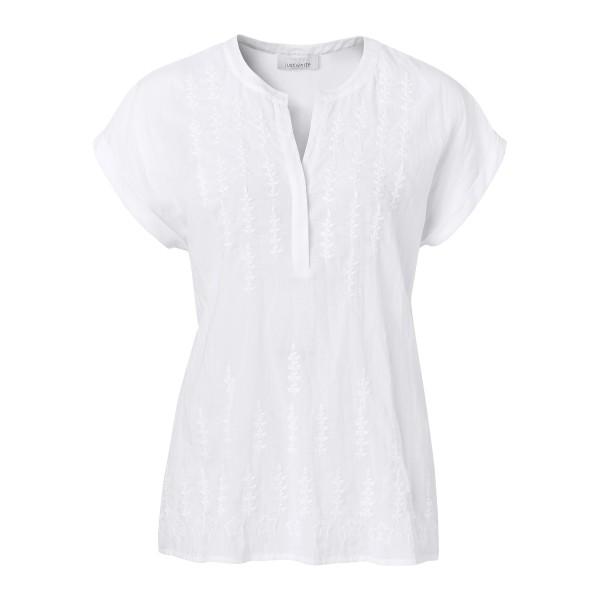 Weißes Blusenshirt mit V-Ausschnitt und floraler Stickerei von JUST WHITE
