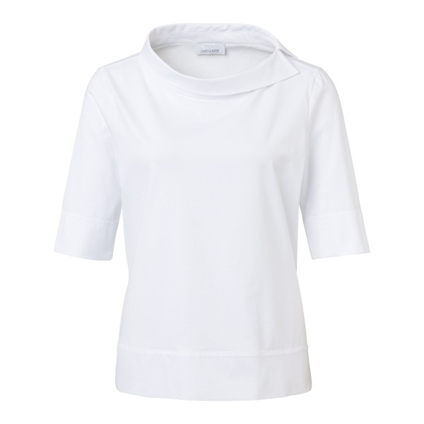 Shirtbluse im Materialmix mit Stehkragen in Weiß